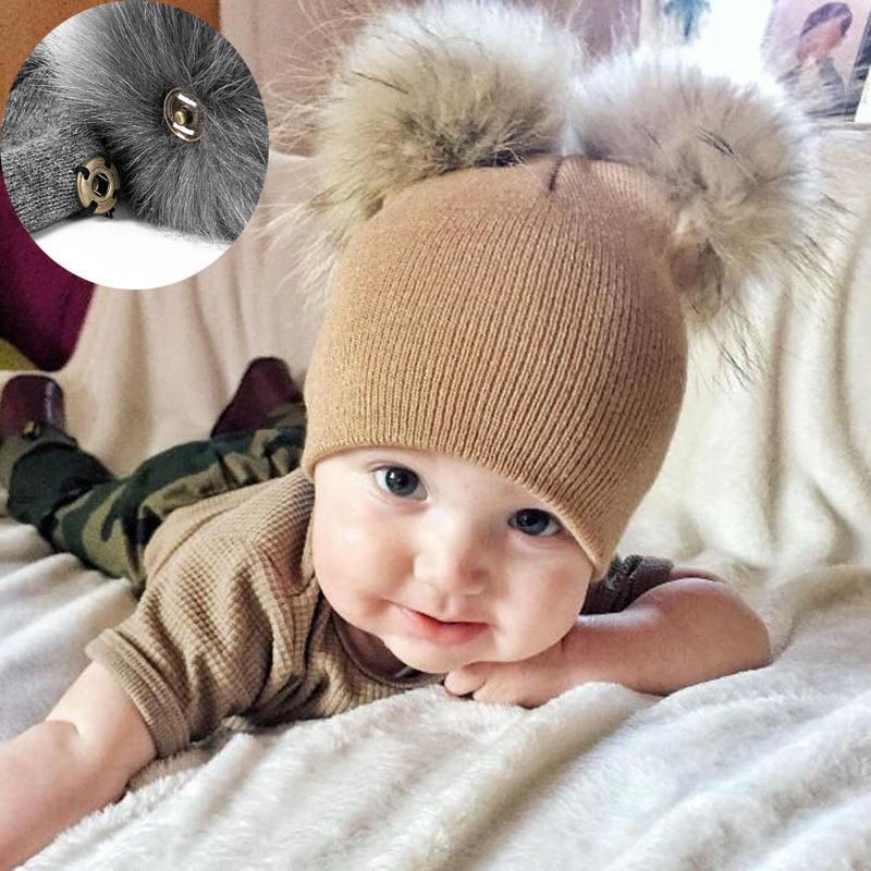 Cute Baby Kids Winter Hat Knitted Warm Double Fur Pompom Caps Beanies Boys Girls Pom Pom hats Childr