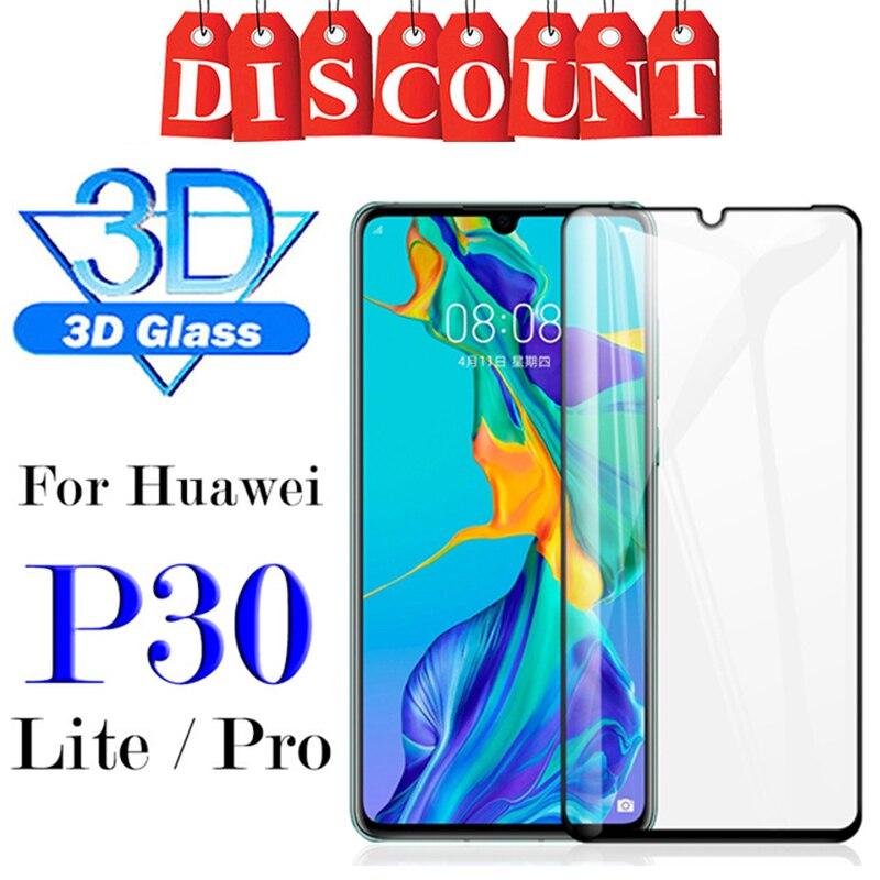 Cubierta completa 3D vidrio protector para huawei p30 lite pro vidrio templado huwei p 30 30pro 30 lite p30lite Luz verre tremp Armadura