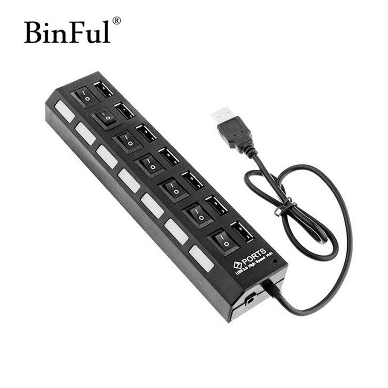 BinFul New USB 2 Hi-Speed 7-port Splitter Usb Hub Expander multiple Converter Adapter For Laptop PC Computer Notebook