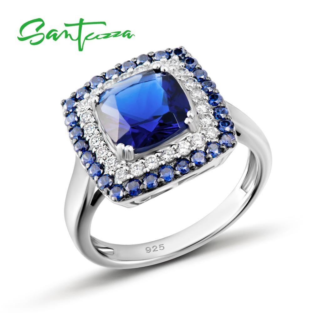Женское серебряное кольцо SANTUZZA, кольцо Властелина из стерлингового серебра 925 пробы с синим нано кубическим цирконием, вечерние ювелирные и...
