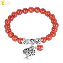 CSJA 2017 brut rouge Onyx gemme pierre Bracelets Bracelets arbre de vie rond Mala chapelet guérison cristal cornaline bijoux E745