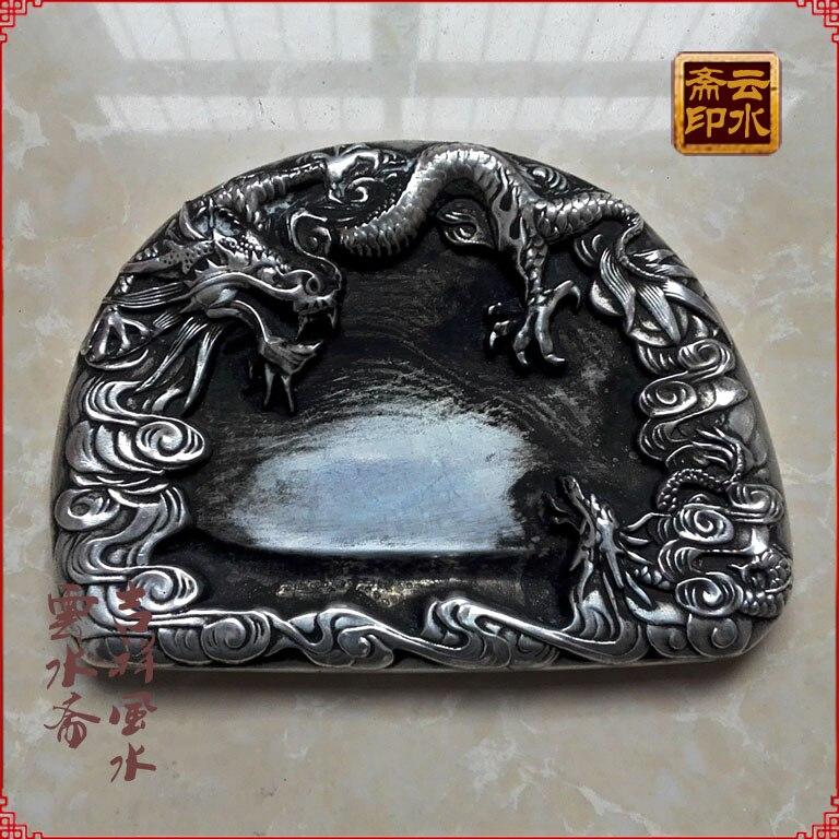 Papelería de plata Miao fina hecha a mano China inkstone Shuanglong disk