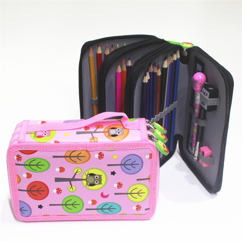 Owl Kawaii Penalties School Pencil Case 3 layer 32/52 holes Multifunctional storage bag Pen Box Art student Supplies pouch gift