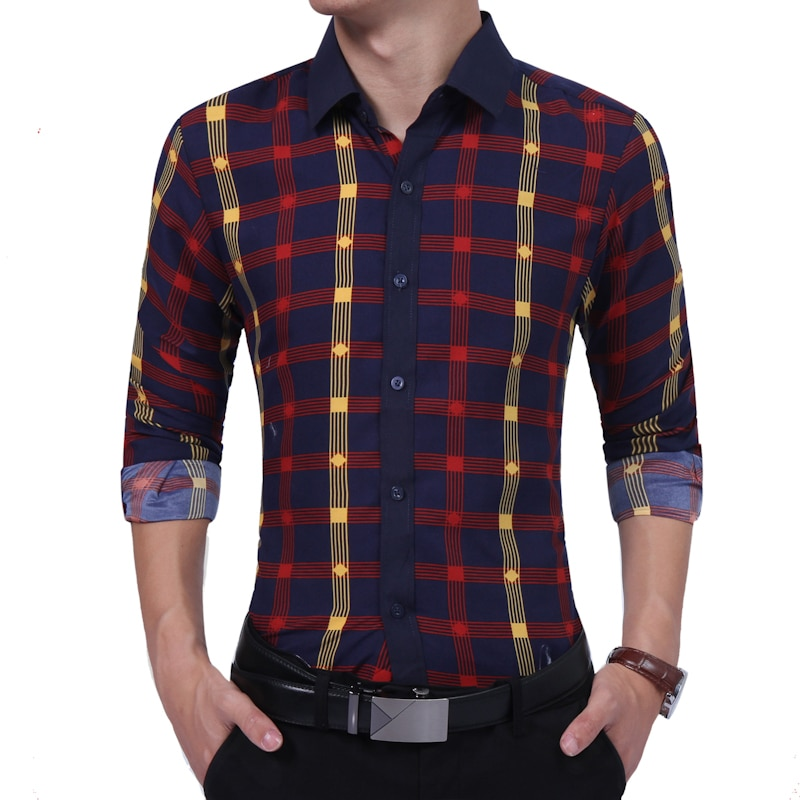 2020 outono inverno nova camisa masculina moda contraste cor xadrez camisa de mangas compridas sociedade camisa de negócios masculina