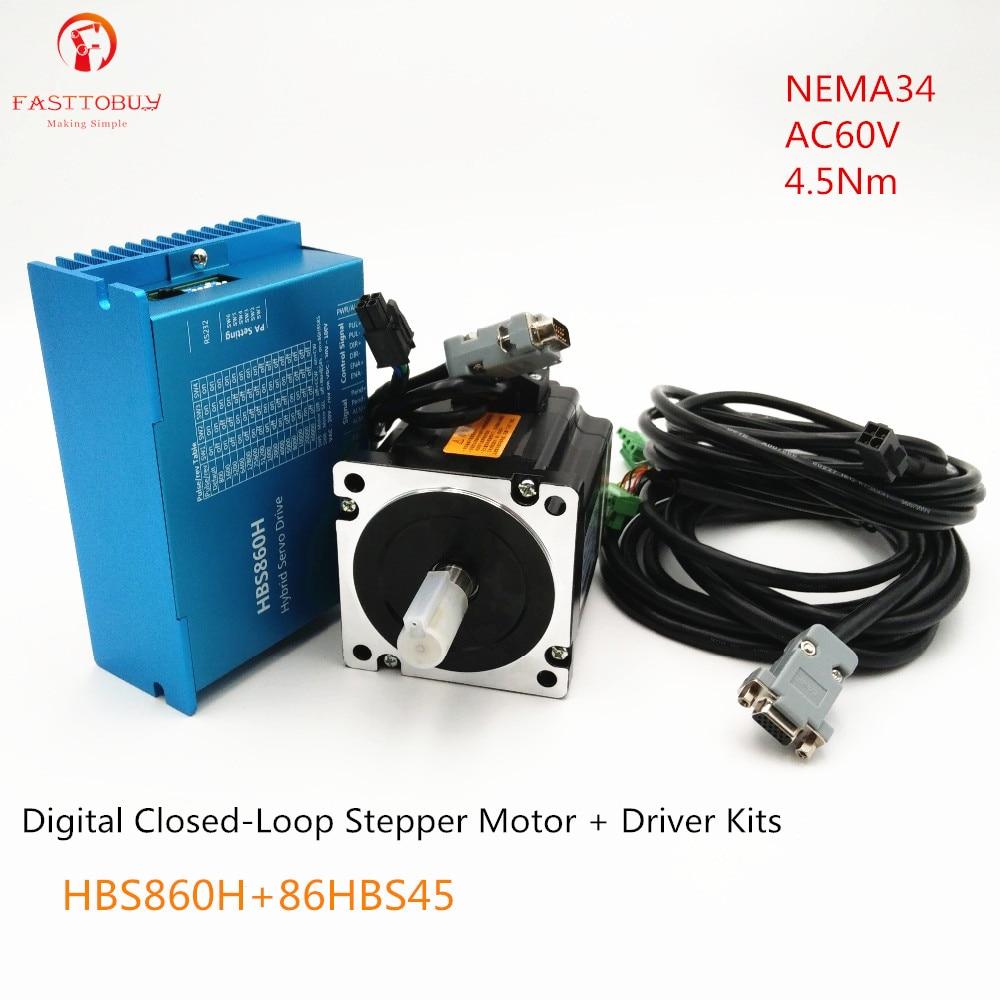 Digital paso a paso Motor de juego AC60V 4.5Nm NEMA34 fresadora CNC de bucle cerrado paso a paso Drive + kit de Motor HBS860H + 86HBS45