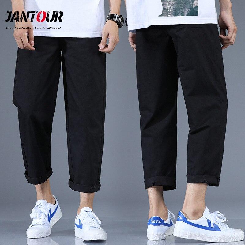Фото Брюки Jantour мужские прямые свободные повседневные Модные Хлопковые Штаны до