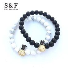 Couple Ananas Bracelet pierre perles Bracelets pour femme bijoux hommes Pulseira Masculina Feminina hommes Erkek Bileklik Punk 2018 nouveau