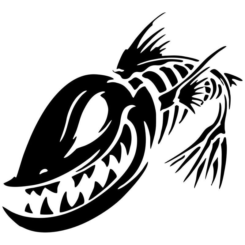Виниловая наклейка на окна автомобиля, 15,2*13,9 см, с изображением рыбы, скелета, черепа, рыбалки, монстра, забавные наклейки для мотоцикла, C6-0627