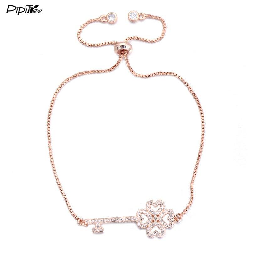 Pipitree 2017 Summer New CZ Clover Key Bracelet for Women 4 Colors Copper Chain Adjustable Crystal Bracelets Love Couple Jewelry