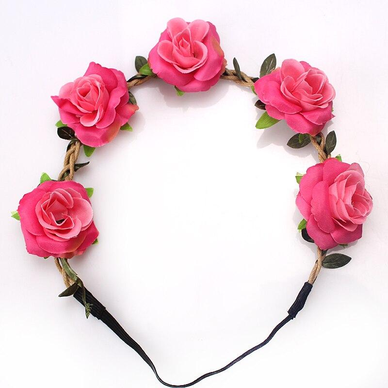 Diadema con rosas de moda M MISM, diademas para mujeres y niñas, cintas elásticas para el cabello coreano, diademas florales, accesorios para el cabello, tocado