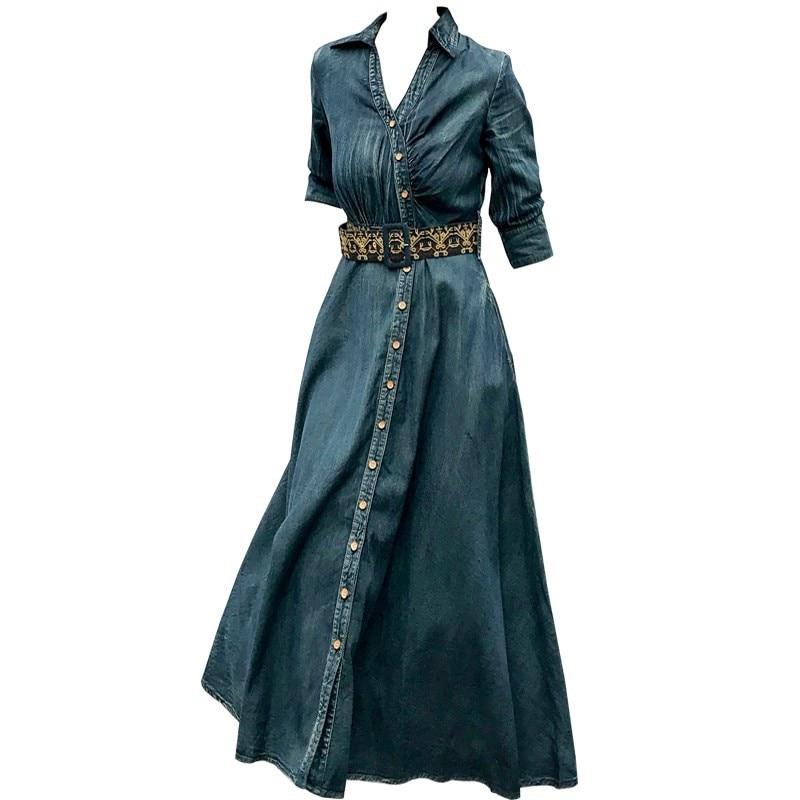 Vestido vaquero Vintage de primavera otoño 2020, vestidos vaqueros ajustados con manga hlaf para mujer, vestido con cinturón y cuello en V a la moda