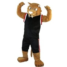 Hot Koop Zwarte Jas Sport Bruin Spier Leopa Mascotte Kostuum Volwassen Grootte Halloween Outfit Fancy Dress Pak Gratis Shipping2019New