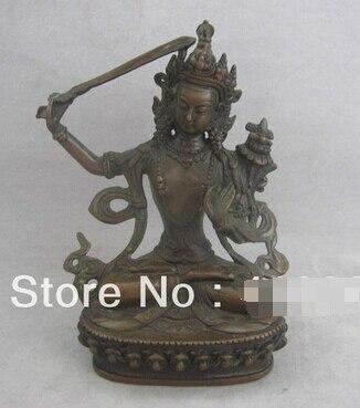 Envío rápido China Tíbet cobre bronce Manjushri Manjusri Buda Bodhisattva estatua espada