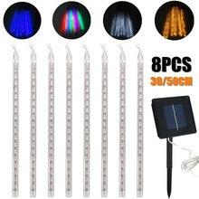 8 Uds. Tira de luces LED de 30/50 cm, luces de lluvia para ducha, luces de lluvia con energía Solar, lluvia de meteoros, impermeable, lámpara de decoración para jardín