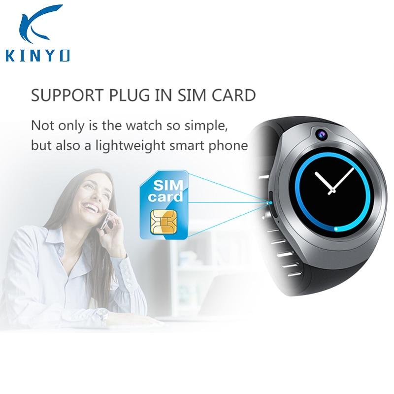 Kinyo reloj inteligente Bluetooth con cámara 1GB de RAM 16GB ROM compatible con tarjeta SIM 3G WIFI GPS inteligente para Android IOS teléfonos PK KW88