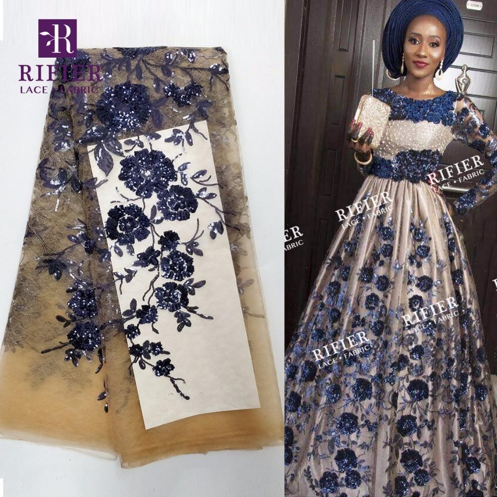 Bela Flor de Lantejoulas Tecido de Renda Líquida Africano Lantejoulas Laços De Casamento Cor Azul 2018 de Alta Qualidade Vestido de Renda Guipure Tecidos