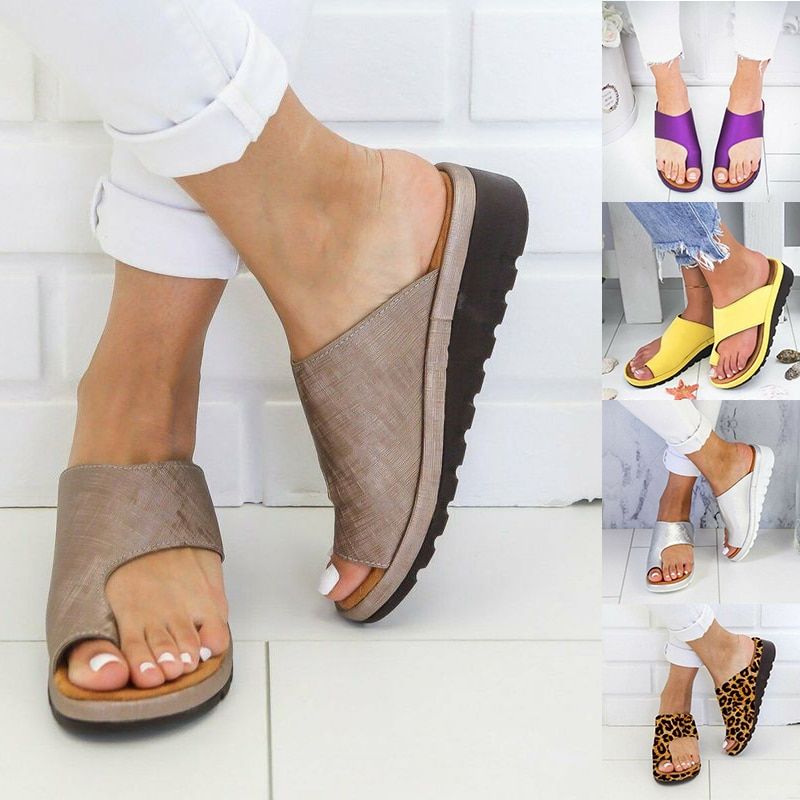 Women PU Leather Sandals Flip Flops Woman Shoes Platform Flat Sole Orthopedic Bunion Corrector Ladies Foot Correction Sandalias