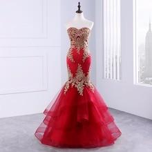 Elegant Off Shoulder Evening Dress 2020 Vestido De Festa Backless Mermaid Formal Prom Dresses with Embroidery Tiered GGF-87