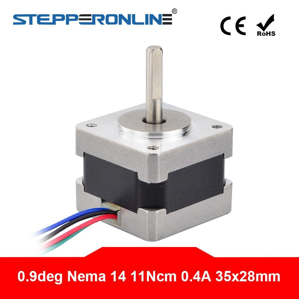 Nema moteur Stepper 14 11Ncm/15.6oz.in 0,9deg (400 étapes/rev) moteur 3D bipolaire 0.4A à 4 plomb de bricolage