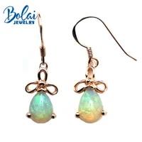 bolaijewelrydapper water drop earring natural opal gemstone in 925 rose color sterling silver women or girl wear best gift