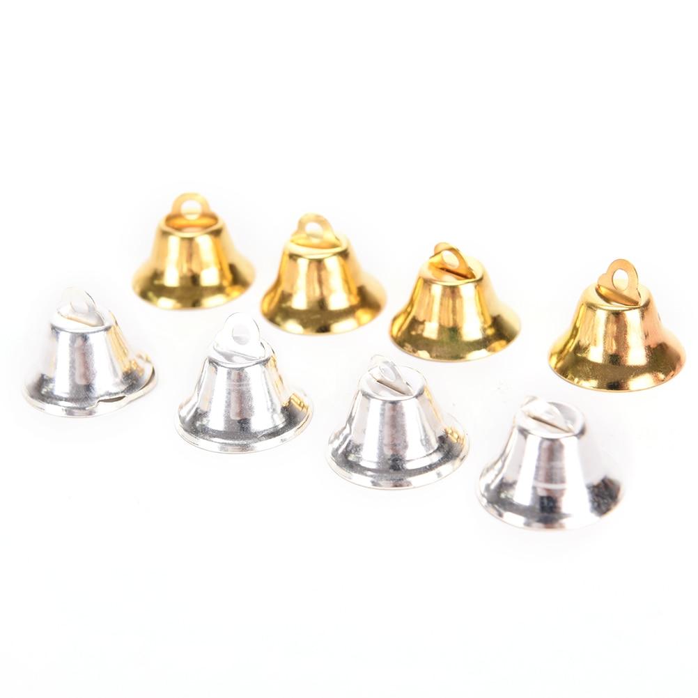 Lote de 10 unidades de campanas de Metal, campana pequeña para decoración de Navidad, colgantes DIY de campanas para árbol de Navidad, adornos de joyería