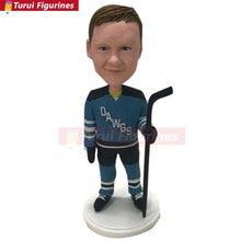 Ice Hockey Personalized Bobble Head Figurines Kid Ice Hockey Bobble Head Hockey Birthday Cake Topper Son Christmas Gift Kid Chri
