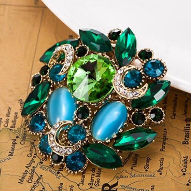Tres Color de la flor de las mujeres broches de bufanda para mujeres joyería de la boda de broche pin Diamante de imitación mujeres joyería nupcial broches ramo