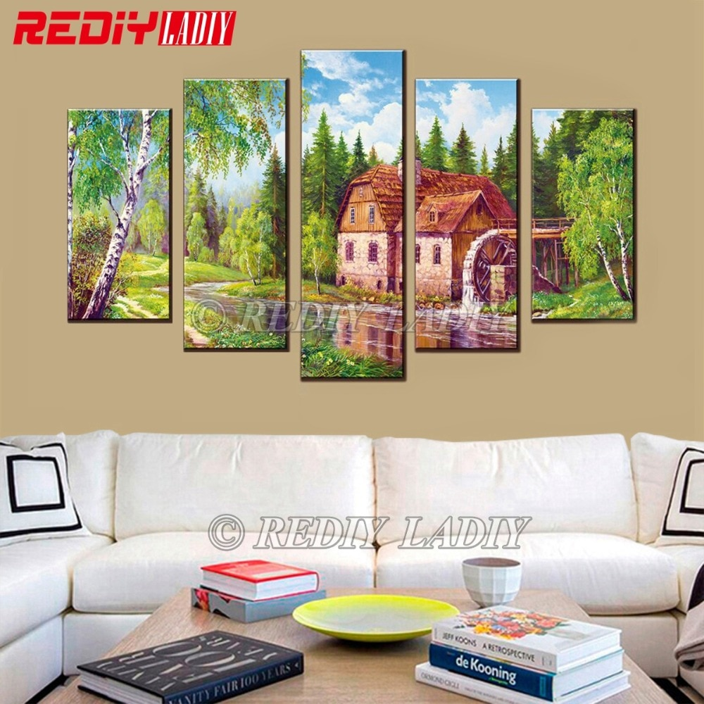 REDIY LADIY Diamond Painting Triptych Full Square Crystal Modular Picture Landscape Old Mill Wall Art Multi Picture Home Decor