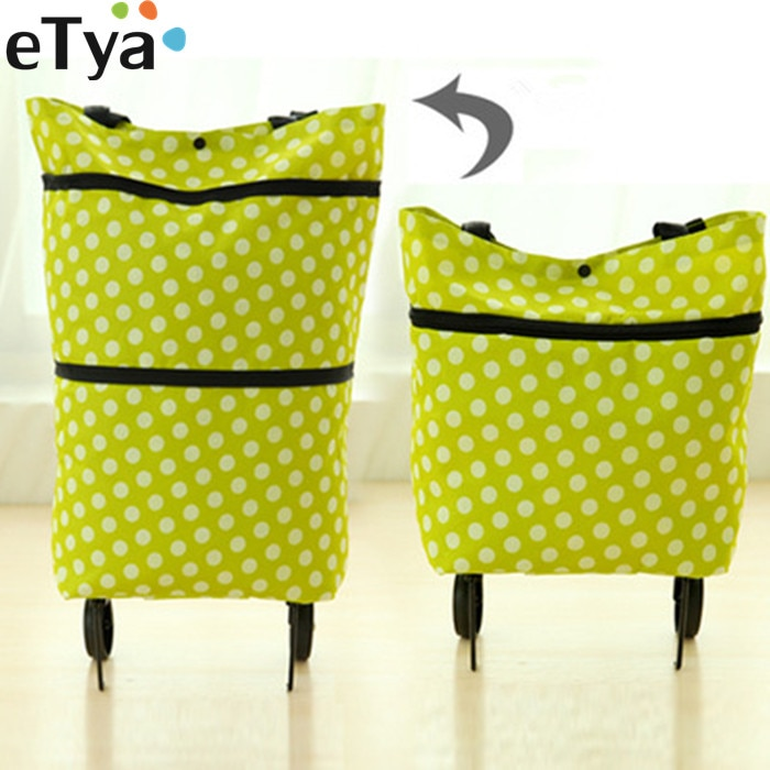 ETya 1 قطعة حقيبة تسوق للنساء قابلة لإعادة الاستخدام حقائب اليد عربة سوبر ماركت عربة تسوق عجلة أكياس البقالة الحقيبة