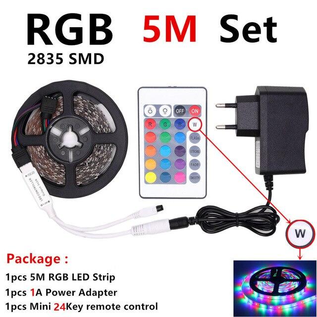 Tira de LED RGB 2835 impermeable 5M 10M DC12V Fita LED tira de luz de neón LED 12V cinta Flexible ledstrip con controlador y adaptador
