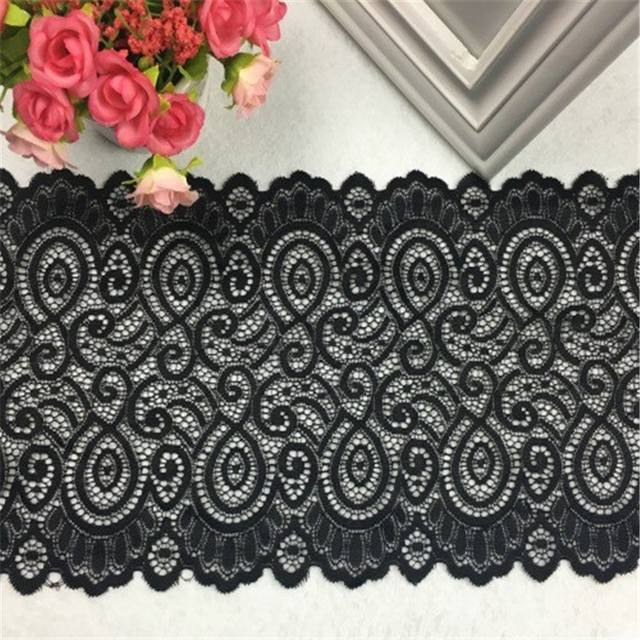 1Yards 18cm width 9colors Elastic Lace Fabric DIY Crafts Sewing Suppies Decoration Accessories For Garments Elastic Lace Trim