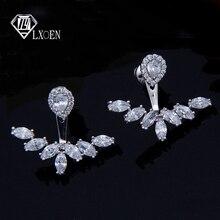LXOEN Office Cubic Zirconia Stud Earrings For Women Gold Silver color Leaf Earrings for Women earrings nulseras Mujer Gifts