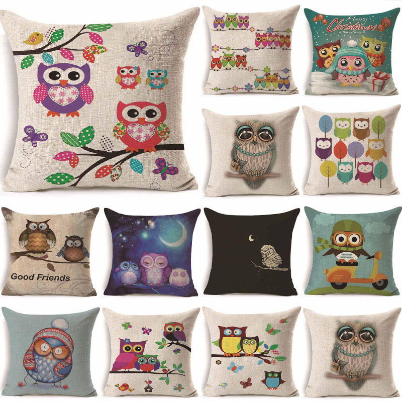 1Pcs 43*43cm Lovely Colorful Owl Pattern Cotton Linen Throw Pillow Cushion Cover Car Home Sofa Decorative Pillowcase 40243