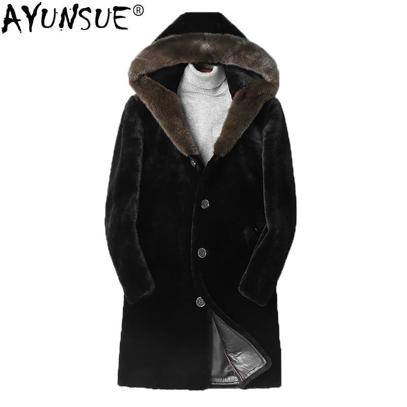 AYUNSUE الشتاء الطبيعي الأغنام Shearling سترة مقنعين المنك الفراء طوق الفراء الحقيقي معطف الرجال طويل جاكيتات فاخرة معطف L18-5901 KJ1484