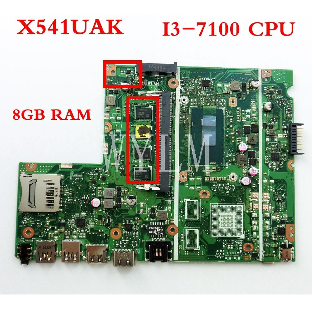 Memoria X541UAK de 8GB con placa base i3-7100CPU REV2.0 para ASUS X541UVK X541UA, placa base para ordenador portátil probada, funcionamiento, envío gratis