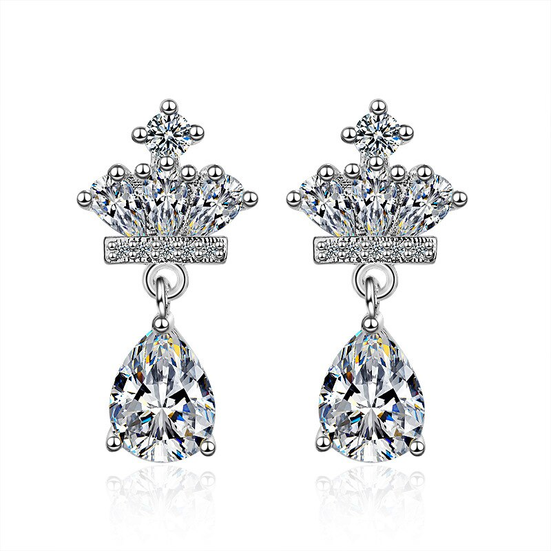 Luxury Shiny Cubic Zirconia Crown 925 Sterling Silver Female Stud Earrings Jewelry Wholesale Gift Anti Allergy Students Cheap