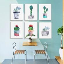 Affiches de Cactus plante verte décoration   Plante verte, aquarelle, fleurs, décoration de salon, beau Style nordique, mur dart de jardin, images