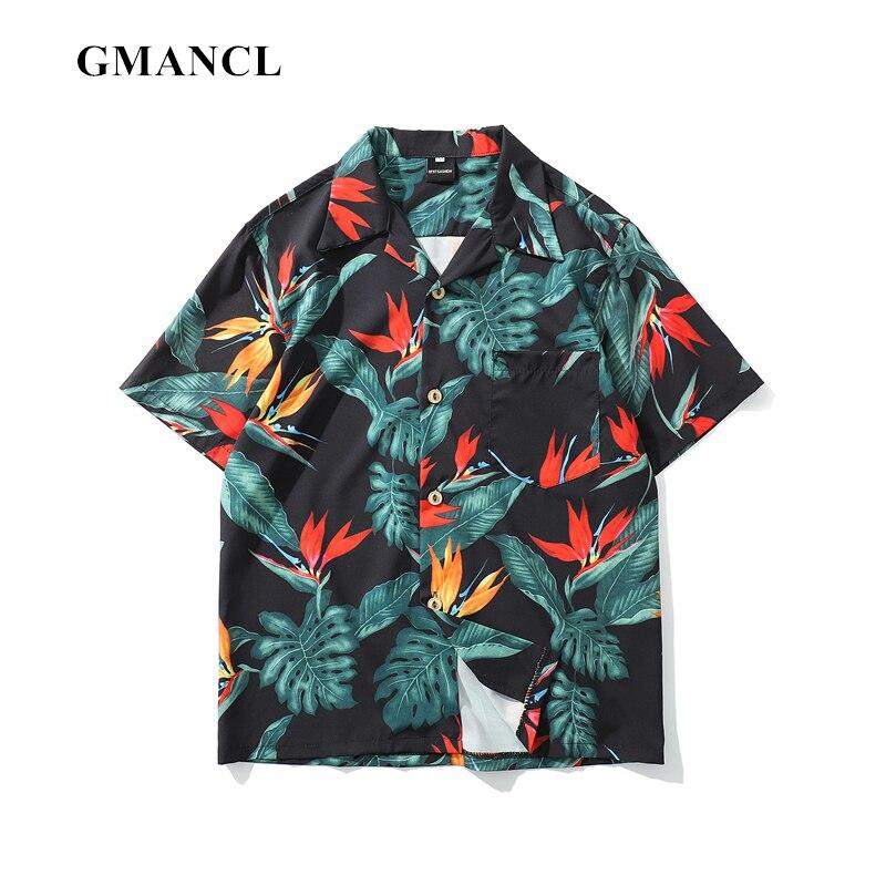 Summer Fashion Mens Personality Full body Floral Hawaiian Short sleeve Turn-down Shirts Harajuku Streetwear male Casual Shirt