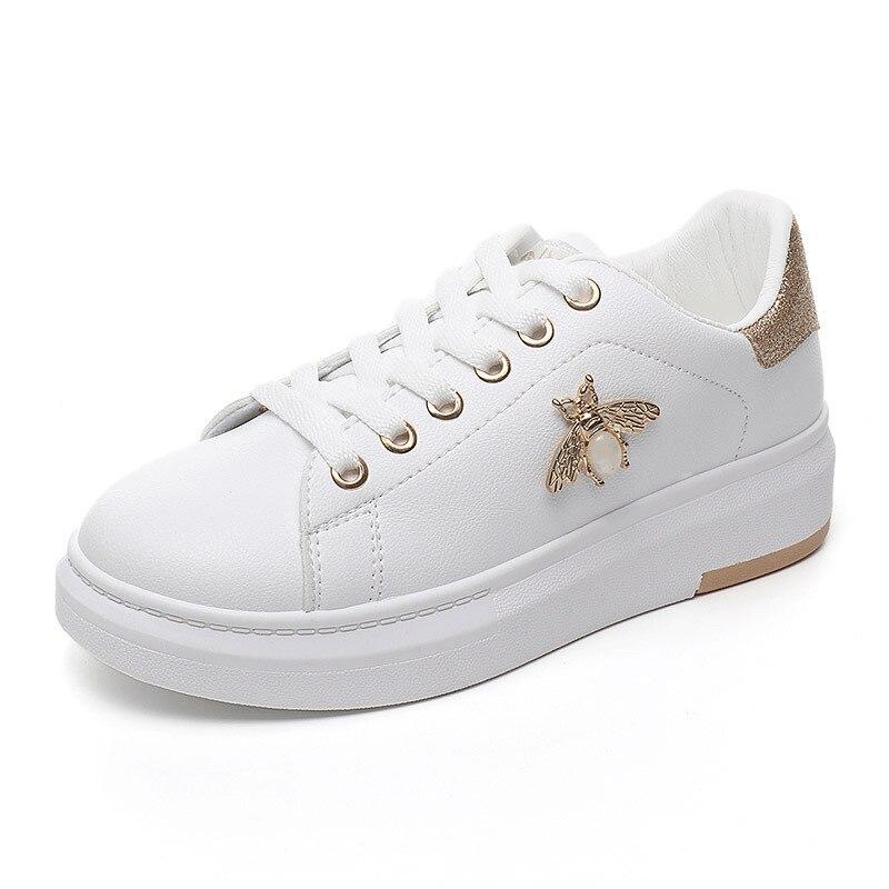 Duzeala mulheres sapatos casuais 2019 outono mulher tênis moda respirável couro do plutônio plataforma branco sapatos femininos macio footwears