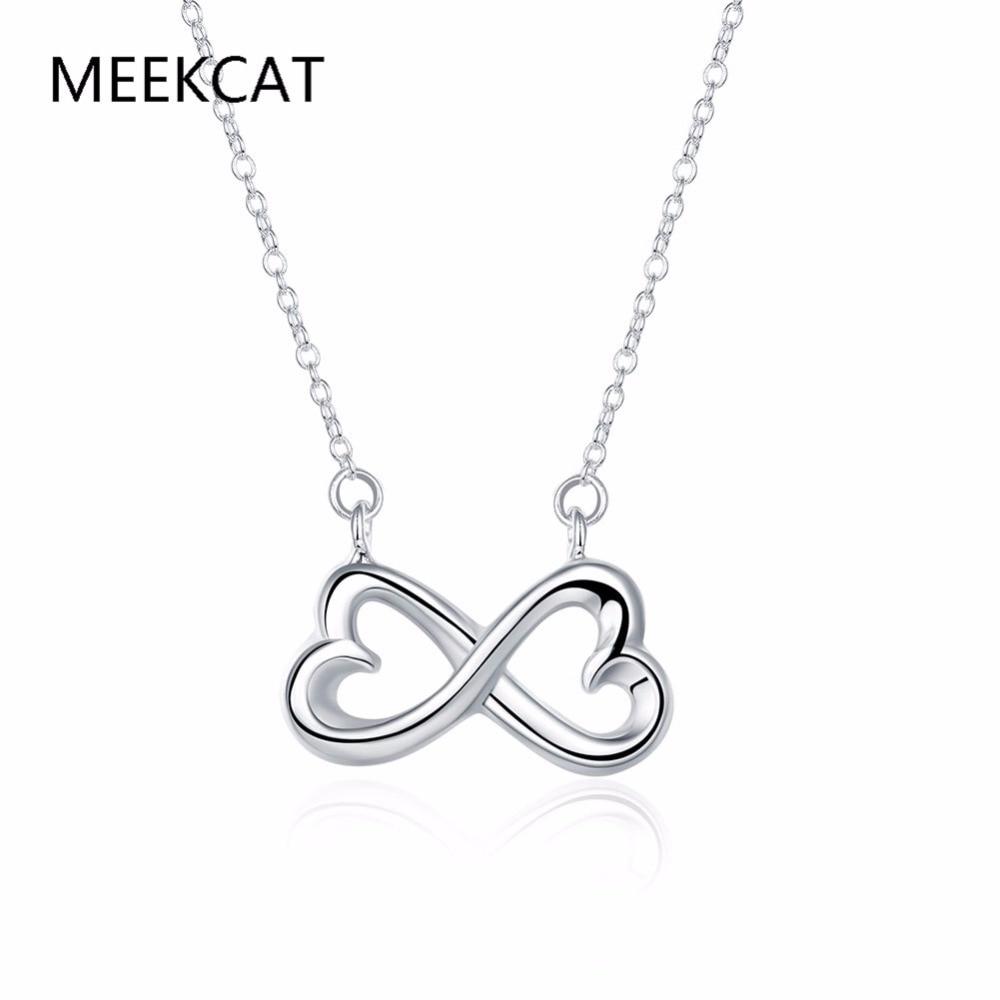 Bonito collar de lazo doble corazón infinito amor infinito 925 collares chapados en plata estampados y accesorios para fiesta, joyería