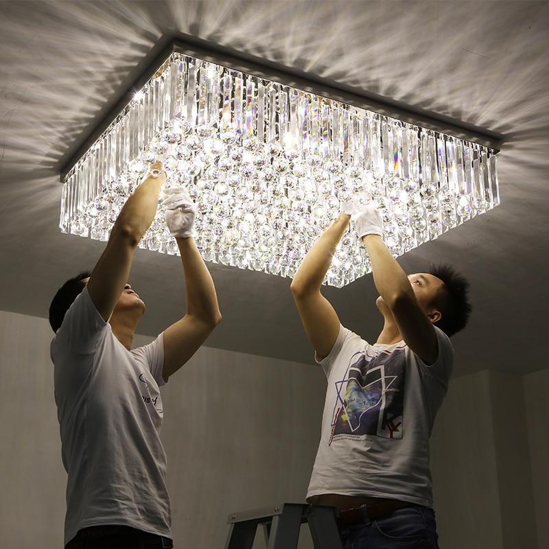 بسيطة الحديثة LED مستطيلة دافئ غرفة المعيشة قاعة الكريستال مصباح الغلاف الجوي الفاخرة 1 متر 1.2 المصابيح الأمامية تجهيزات ضوء السقف