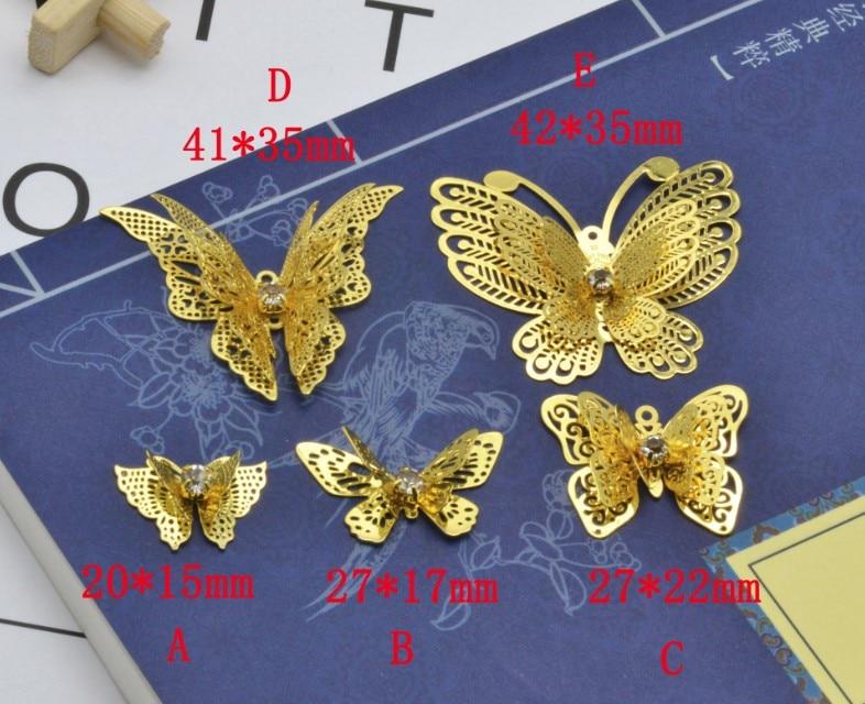 35*45mm mariposa grande latón antiguo Color bronce doble tres capas agujero filigrana encantos ajuste joyería DIY
