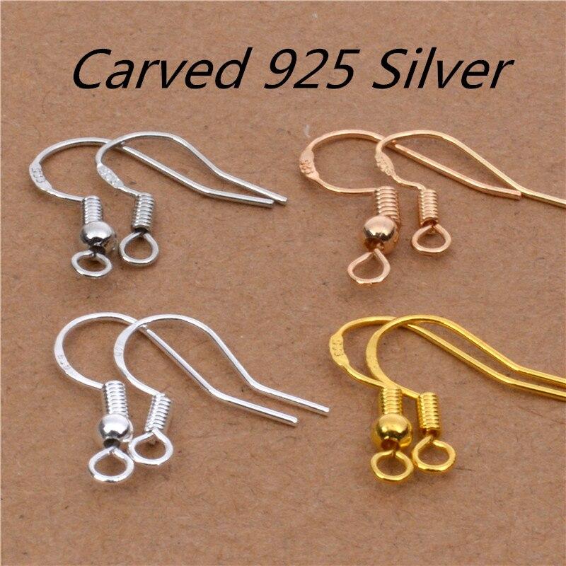 50 шт. = 25 пар, из стерлингового серебра 925 пробы, простая модная проволока для ушей, крючки с шариками, пружинные застежки для серег, ювелирных изделий