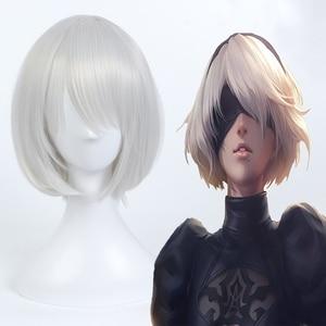 Hot Game NieR:Automata Cosplay Wigs NieR Automata 2B YoRHa No.2 Type B Heat Resistant Synthetic Anime Cosplay Wig Halloween