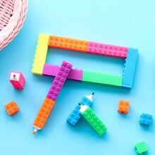 6 pièces Mini bloc couleur surligneur stylo bâtiment jouet dessin marqueur liner stylos enfant cadeau mettre en évidence fournitures scolaires de bureau F201