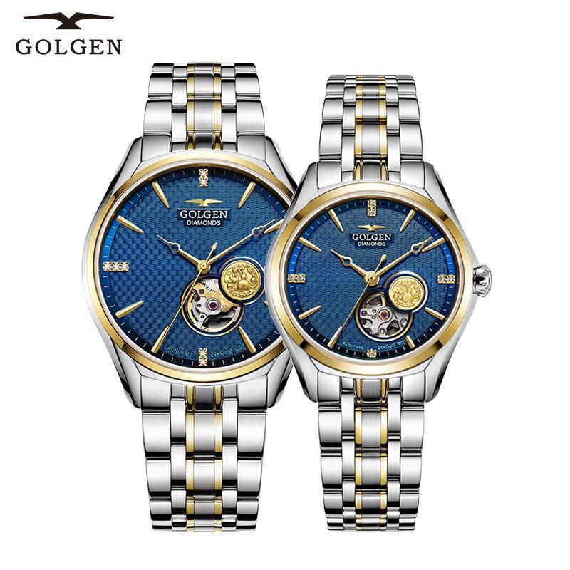 GOLGEN Couple Mechanical Watches Lovers Stainless Steel Simple Elegant  Men Women Skeleton Dial Wristwatch