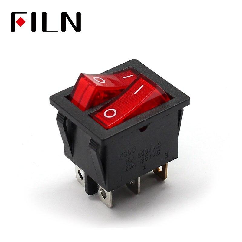 Interruptor basculante kcd4 15A 250v AC de doble Polo, doble banda, 2 vías, rojo, cobre, pin, rojo, 220 v, interruptor de encendido y apagado de lámpara con 6 pines