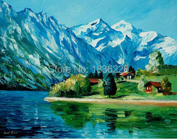 wall decor beautiful painted canvas modern paintings with a knife mountain landscape paintings with interior decoration