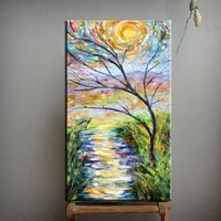 abstract blooming tree picture handpainted modern contemporary handmade wall art sunset forest palette knife canvas oil painting