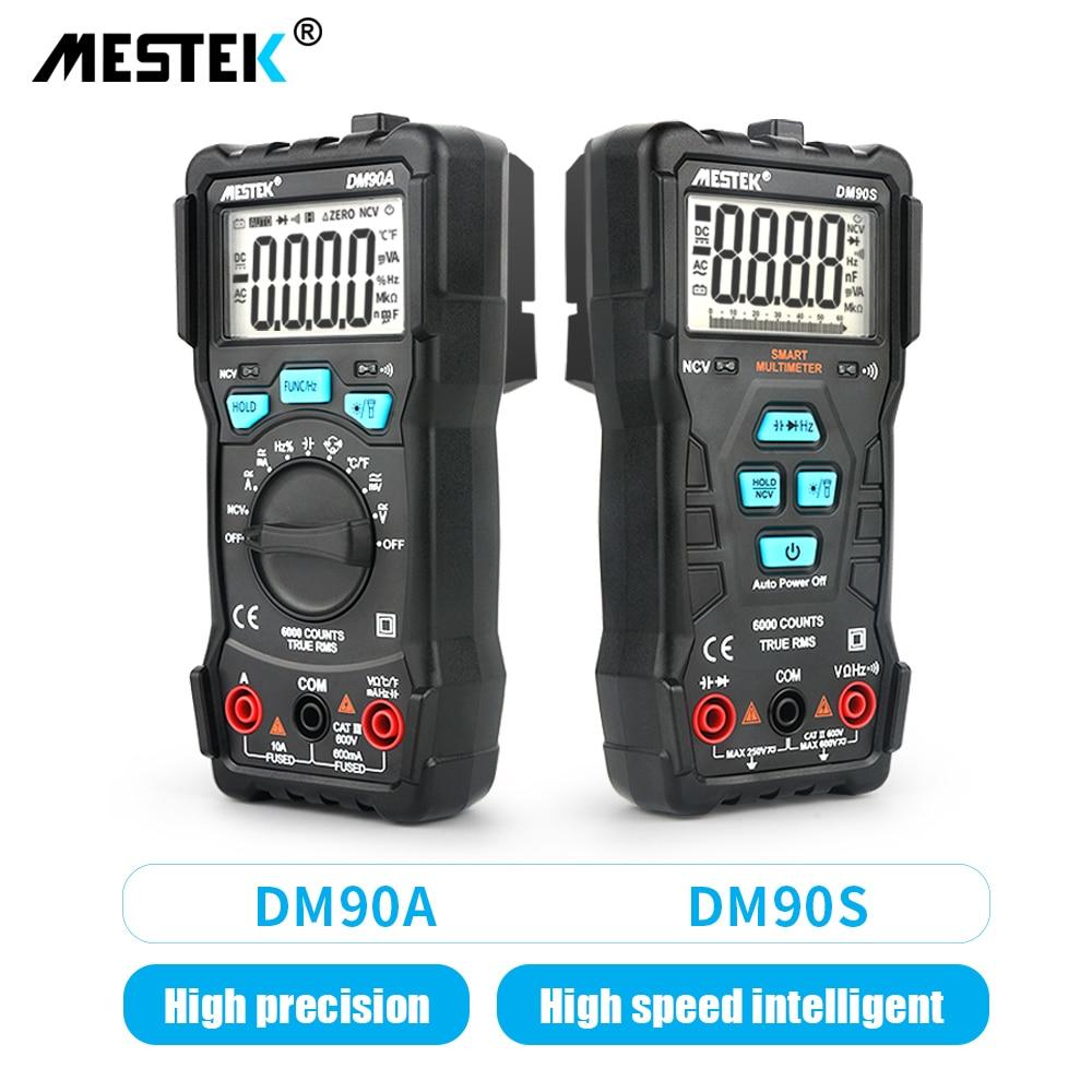 Multímetro inteligente MESTEK DM90A/DM90S multímetro inteligente automático de alta velocidad Anti-quema NCV valores eficaces verdaderos multímetro Digital